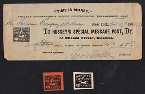 #GEO HUSSEY'S SIGNATURE ON 1865 RECEIPT FOR S.M. POST ISSUES, W/ 5 & 20c STAMPS