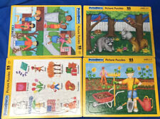 Lot Of 4 VINTAGE PUZZLE PATCH 25 PC. PICTURE TRAY PUZZLES - USA MADE GUC