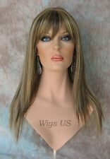 Long Wig Light Brown Mix Razored Straight Layers Bangs Skin Part Wigs US