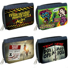 Personalised Womens Purse Zombie Denim Coin Wallet Birthday Gift Dead Horror