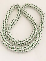HANDMADE MICRO BEADED POPCORN CHAIN NECKLACE CONTINUOUS WHITE & GREEN BEADS