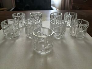 LOT 9 CARVED CLEAR GLASS VOTIVE TEALIGHT CANDLE HOLDERS