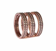 NWT $200 NIALAYA Ring Authentic Womens Clear CZ Pink Gold 925 Silver s US5 /EU50