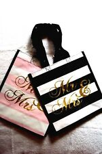 Marshalls Mr & Mrs Wedding Gift Shopping Reusable Tote Bag Black Pink Set NWT