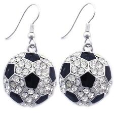 Black White Soccer Ball Charm Sports Dangle Hook Earrings Fashion Jewelry e1023