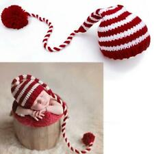 Baby knitting Long Tails Christmas Hat Newborn Photography Props Stripe Crochet