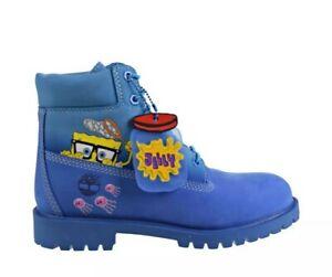 Timberland X SpongeBob 6' Inch Premium Boots Little Kids Youth 2.5 Blue TB0A257P