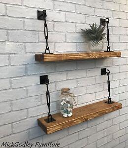 Rustic Floating Solid Wooden Shelving shelves