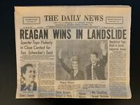 "1980 The Daily News ""Reagan Wins In Landslide"" Newspaper Ronald Reagan"