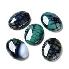 10pcs Natural Flatback Cabochons Oval Semi-Precious Dragon Veins Stone 30x22x7mm
