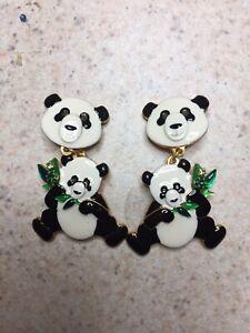 Lunch At The Ritz Panda Earrings