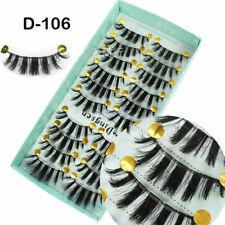 10 Pares de Pestañas Postizas 3D tenues Esponjoso Suave Pestañas Largas Postizas Maquillaje Natural