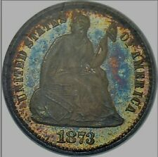 NGC PF67 1873 HALF DIME. NICE PR67 H10C EXAMPLE WITH COLOR.