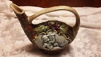 Vintage Hand Painted Scenic cherub  Glaze Pottery Pitcher Italy estate find