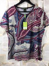 NWT MONTE MILANO  Multi color Short Sleeve Top Shirt Blouse  Sz XL 4  Runs Small