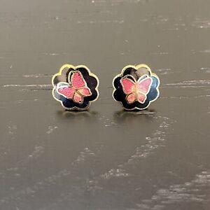 """Cloisonne Black Enamel Butterfly Stud Earrings Gold Pink Pearled 3/4"""""""