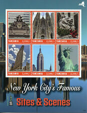 Tanzania 2016 MNH New York City Sites NY2016 6v M/S Statue of Liberty Stamps