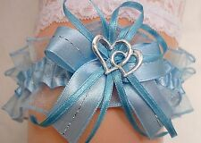 satin jarretière bleu/bleu clair + 2 coeurs satin organza ruban mariée