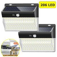 206LED Outdoor Solar Power Wall Lamp Motion Sensor Security Flood Garden Light L