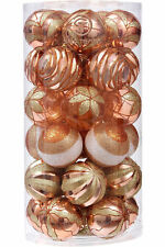 Christmas Glittering Balls Decoration Shatterproof Ball Ornaments 30 Set Copper