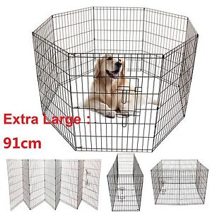Extra Large 8 Panel Pet Play Pen Dog Puppy Animal Exercise Run Cage Metal Fence