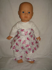 """WhiteTop,Trousers & Lilac Flower Pinafore, Fits Baby Annabell /Born 16/18"""" Dolls"""
