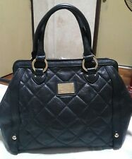 DOUBLE M MILANO Genuine Leather Quilted Black Handbag