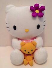 """Hello Kitty 10"""" Plush With Teddy Bear Sanrio Nakajima 2002"""