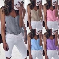 Hot Casual Women Sleeveless Blouse S-5XL Plus Sling Shirt Summer Tank Tops