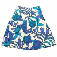 Rockmans Women's White High Waist Floral Cotton Knee Length A Line Skirt Size 8
