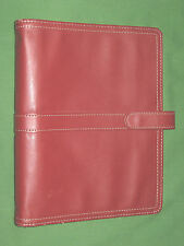 "DESK ~ 1.0"" Unstructured RED S LEATHER Day Timer Planner BINDER Franklin Covey"