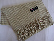100% Cashmere Winter Scarf Scarve Scotland Warm Houndstooth Beige Wrap Shawl NEW