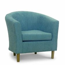 Tub Chair Armchair Duck Egg Blue Chenille Fabric Living Room Fireside Lounge UK