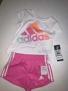 NWT Adidas Girls 2 Piece Shirt & Shorts Set Size 24 Months White Pink $34