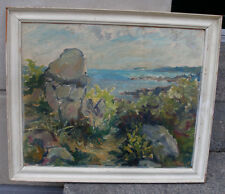 Palle Thrane ( 1911) Coastal view. Island of Bornholm. Dated 1935.