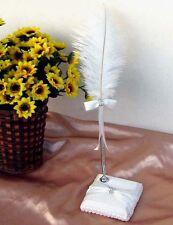 Ivory Feather Wedding Pen and Pen Holder/Base Set with Bow Diamantes Boxed