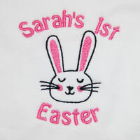 Personalised Baby's 1st First Easter 2017 Bib Boy Girl Newborn Embroidered Name