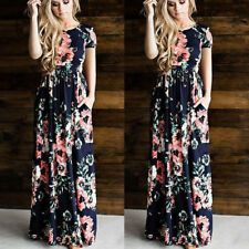 Women Floral Print Short Sleeve Boho Dress Ladies Evening Party Prom Long Dress Pink 2xl