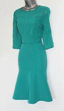 MONSOON Green Turquoise 3/4 Sleeves Elegant Evening Cocktail  Dress UK 12  EU 40