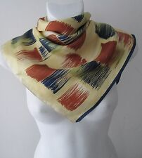 Stunning Vintage Small Brush Strokes Patterned Neck Silk Scarf  (7926x)