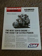 Yanmar Marine Diesel Engine 1GM10 9 HP Dealer Sales Brochure Specifications