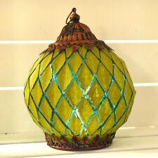 Colgante linterna marroquí Cuerda LED Luz Verde Cristal único iluminación del hogar 24417