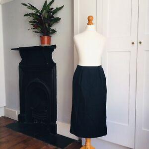 Vintage 80s 90s Viyella Black Cotton Blend Pencil Skirt 8