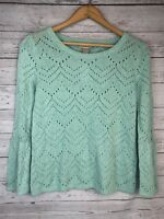 Ann Taylor LOFT Outlet Sweater Sz Small Turquoise Open Knit Bell Sleeve
