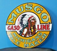 VINTAGE MUSGO GASOLINE PORCELAIN GAS MOTOR OIL SERVICE STATION PUMP SIGN