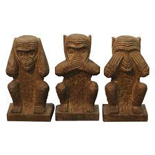 """Beautiful Bluestone Set of 3 Wise Monkeys Hear Speak See No Evil 8.5"""""""
