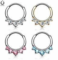 1pc Five CZ Set Gems Septum Clicker 316L Surgical Steel 16g Nose Ring