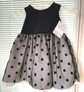 NEW BABY INFANT GIRLS CARTERS BLACK VELOUR  & Tulle PARTY DRESS 12 MONTH SIZE