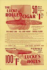 1899 J. H. Lucke Rolled Cigars Ad Cincinnati Ohio Tropical Flavor