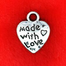 30 x Tibetan Silver Love Heart  'Made with Love' Charm Pendant Finding Making